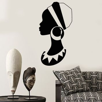 Vinyl Wall Decal African Girl Turban Native Black Woman Stickers (2252ig)