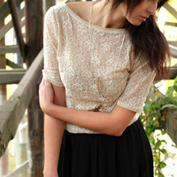 Bohemian sheer lace tunic - scoop back with half sleeves, rustic country shirt fall fashion  - medium