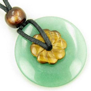 Double Lucky Amulet Aventurine and Tiger Eye Crystals Necklace