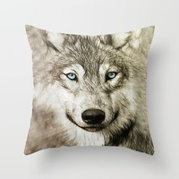 Smokey Sketched Wolf Throw Pillow by Inspired Images
