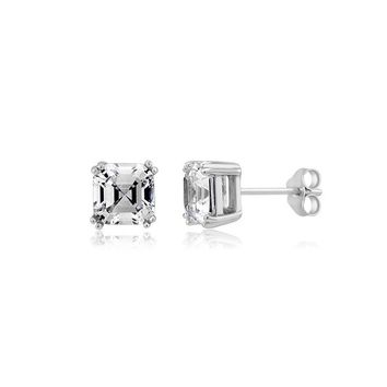 Sterling silver 7x7mm square emerald cut CZ stud earrings
