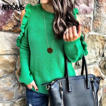 Aproms Ruffles Cold Shoulder Knit Pullover Sweater
