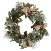 Burlap & Faux Berries Wreath
