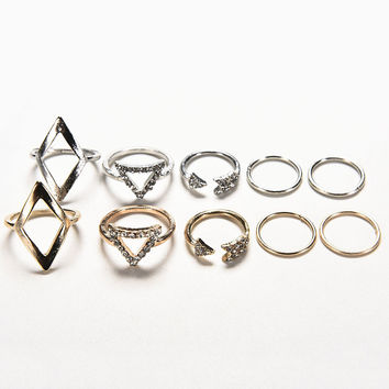Women Geometry Anchor Stacking Finger Knuckle Middle Finger Rings Set Women Jewelry Silver Gold Colors 5pc Punk Rings SM6