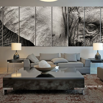 8 Panel Extra Large Elephant Canvas Print, Large Wild Elephant Large Wall Art Canvas Print, Africa Wild Animal Canvas Print - MC30