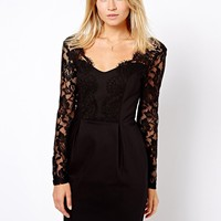 Oasis Lace Sleeve Pencil Dress