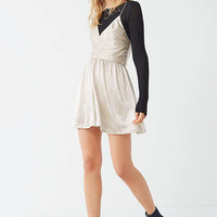 UO Danielle Metallic Cinch Romper | Urban Outfitters