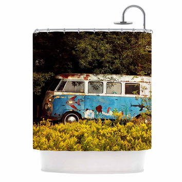 "Angie Turner ""Hippie Bus"" Blue Yellow Shower Curtain"