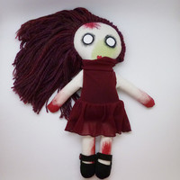 Stuffed Zombie Doll Girl - Creepy Cute - Strange Plush - Low Brow Style Plushie
