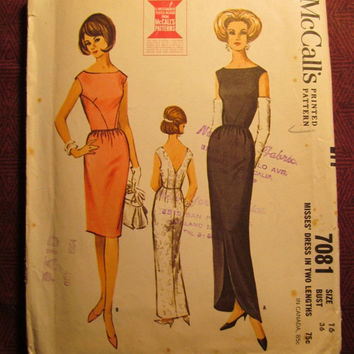SALE Complete 1960's McCall's Sewing Pattern, 7081! Size 16 Bust 36 Large/Medium/Women's/Misses/Formal Sleeveless Dress/V-Neck Back/Long or