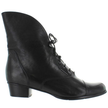 Spring Step Galil - Black Leather Lace-Up Bootie