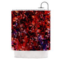 "Ebi Emporium ""Amongst the Flowers - Summer Nights"" Red Black Shower Curtain"