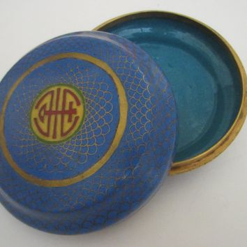 Blue Cloisonne Box Center Asian Monograms Gilt Decorated Medallions
