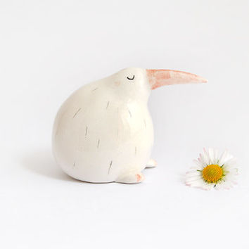 Kiwi Miniature. Maded in White Ceramic Decorated with Black Feathers and Orange Beak. Made To Order
