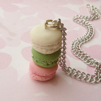 polymer clay french macaron stack necklace by ScrumptiousDoodle