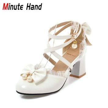 Minute Hand New Fashion Lolita Shoes Square High Heels Women Ankle Strap Pumps Sweet Pearl Bow Knot Ruffles Wedding Party Shoes