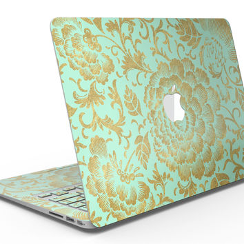 Mint and Gold Floral v2 - MacBook Air Skin Kit