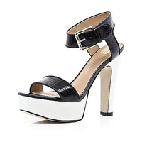 Black croc contrast platform sandals - shoes / boots - sale - women