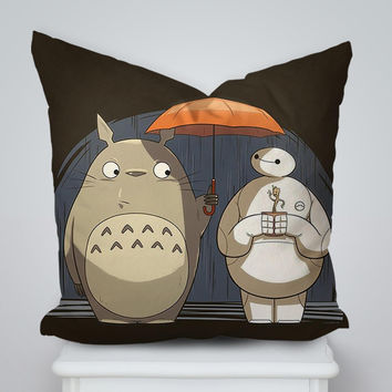 Totoro And Baymax Friendship Pillow Cases Square Pillow Cover, Pillow Case, Cushions Pillow Cover, Home Decor Pillow, Bed Pillow, Bedding, Housewares