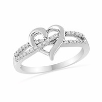 1/7 CT. T.W. Diamond Heart Split Shank Promise Ring in Sterling Silver
