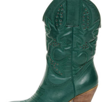 Very Volatile Denver Teal Green Embroidered Cowboy Boots