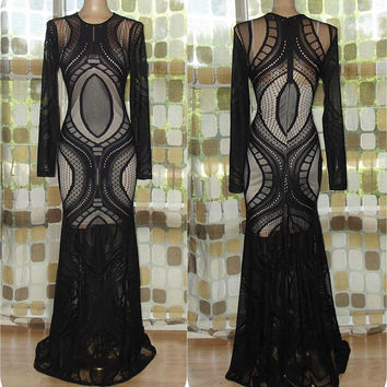 Vintage 90s Sexy Crochet Dress   1990s Nude Illusion See Through Dress   Long Sleeve Gown   Black Crochet Mermaid Gown   Mesh Maxi Dress M/L