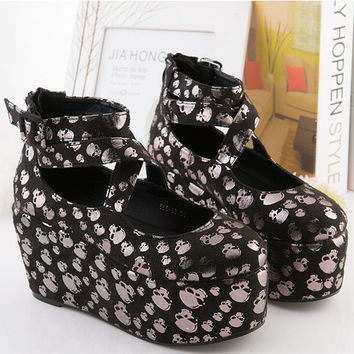 Women Flats Platform Cool Skull Shoes Plus Size Punk Rock Creepers