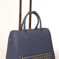 """""""THE ROYAL"""" Blue Studded Rolling iPad, Tablet or Laptop Tote Carryall or Weekender Bag"""