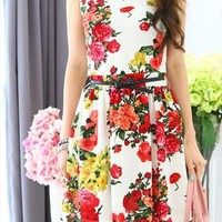 New vintage style floral print sleeveless mini cotton dress from zamong-boutique