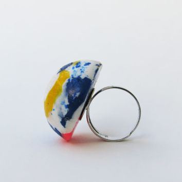 Polymer Clay Ring, Handmade White and Blue Ring, Whimsical Ring, Big Dome Ring, Splatter Ring,  White Blue Yellow Pink Jewelry