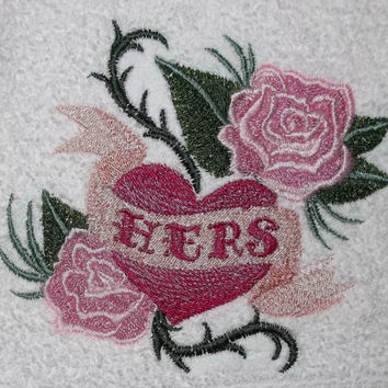 embroidered bath towels wild at heart his hers heart roses thorns flames