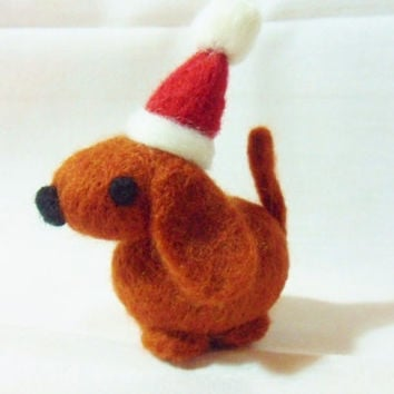 Needle Felted Christmas Dog - Christmas Ornament - 100% merino wool - needle felt dog - felted Christmas decoration