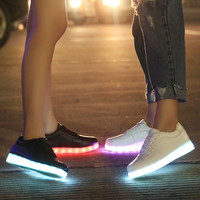 Bright Creative Stylish Colorful Winter LED Lightning Shoes Round-toe Low-cut Noctilucent Lights [6282472070]