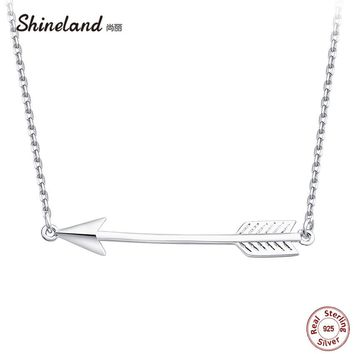 Shineland 2018 Genuine 925 Sterling Silver Simple Arrow Pendant & Necklace Women Charm Party Jewelry Collar Best Friend Gift