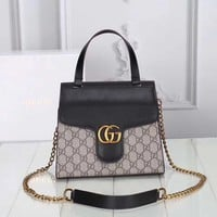 GUCCI GG WOMEN LEATHER CHAIN HANDBAG SHOULDER BAG