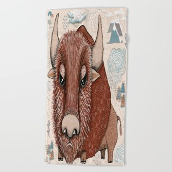 American Buffalo Bison Southwest Southwestern Beach Towel by Amy Gale
