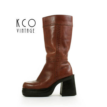 Platform Boots 5.5 Women Tall Leather Boots Brown Chunky High Heel Boots Boho 9&Co 1990s Vintage Boots Women's Size US 5.5 / UK 3.5 / EUR 36