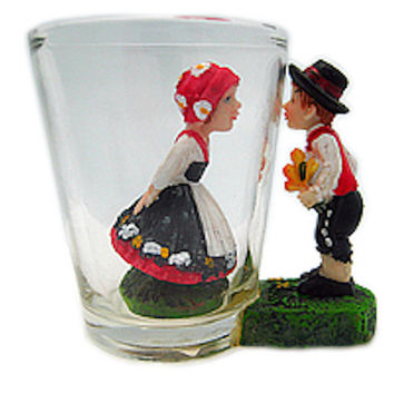 Souvenir Shot Glass: 3 D Scandinavian Couple