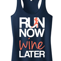 RUN Now WINE Later Tank Top Navy with Coral, Workout Clothing, running Tanks, Gym Tank, marathon, Runners Tank Top, Workout Shirt, Fitness