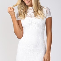 Believe in Me Lace Bodycon Dress in White - Popcherry