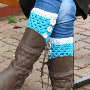 Turquoise White Short Square Knit Boot Cuffs. Short Leg Warmers. Crochet Boot Cuffs. Aqua Legwear