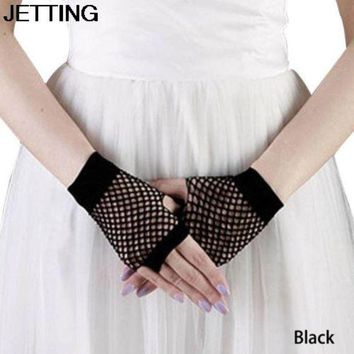 ac PEAPO2Q 1 Pair Summer Spring Black Net Mesh Gloves Punk Fingerless Gloves For Women