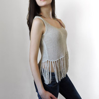 FREE SHIPPING Linen summer cropped top Womens knit top Beige Crop tank top Festival top Fringed top Light summer knitwear Ready to ship