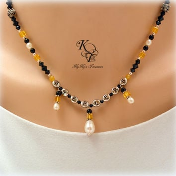 Pittsburgh Steelers, Steelers Necklace, Football Jewelry, Sports Jewelry, Football Necklace, Necklace Earring Set, Black and Gold Necklace