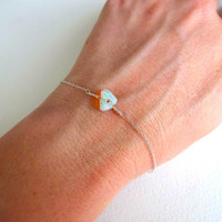 Rough Opal and 925 Sterling Silver Bracelet