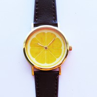 Lemon Slice Fruit Watch , Vintage Style Leather Watch, Women Watches, Unisex Watch, Boyfriend Watch, Men's Watch, Ladies Watch