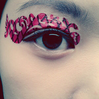 1 Pair of Temporary Tattoo Transfer Stickers for Eyes Eyelids Back Cross Pink Color for Prom Festival Masquerade Clubbing Party