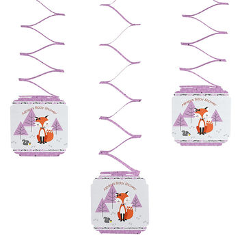 3 Personalized Baby Shower Hanging Decorations - Miss Foxy Fox