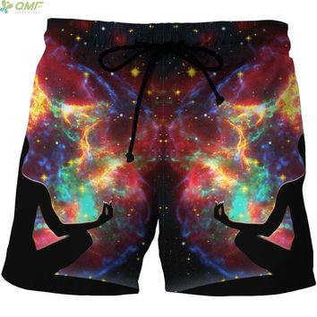 Harajuku Galaxy Meditation Pattern Men Mesh Short Pants Summer Sports Gym Running Boardshorts S-4XL Surf Beach Shorts Quick Dry