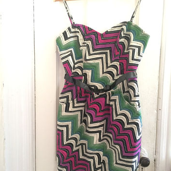 Cotton/Silk Zig Zag Strapless Dress (Plenty by Tracy Reese)